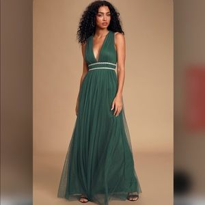 Lulu's Emerald Green Beaded Tulle Maxi Dress Small
